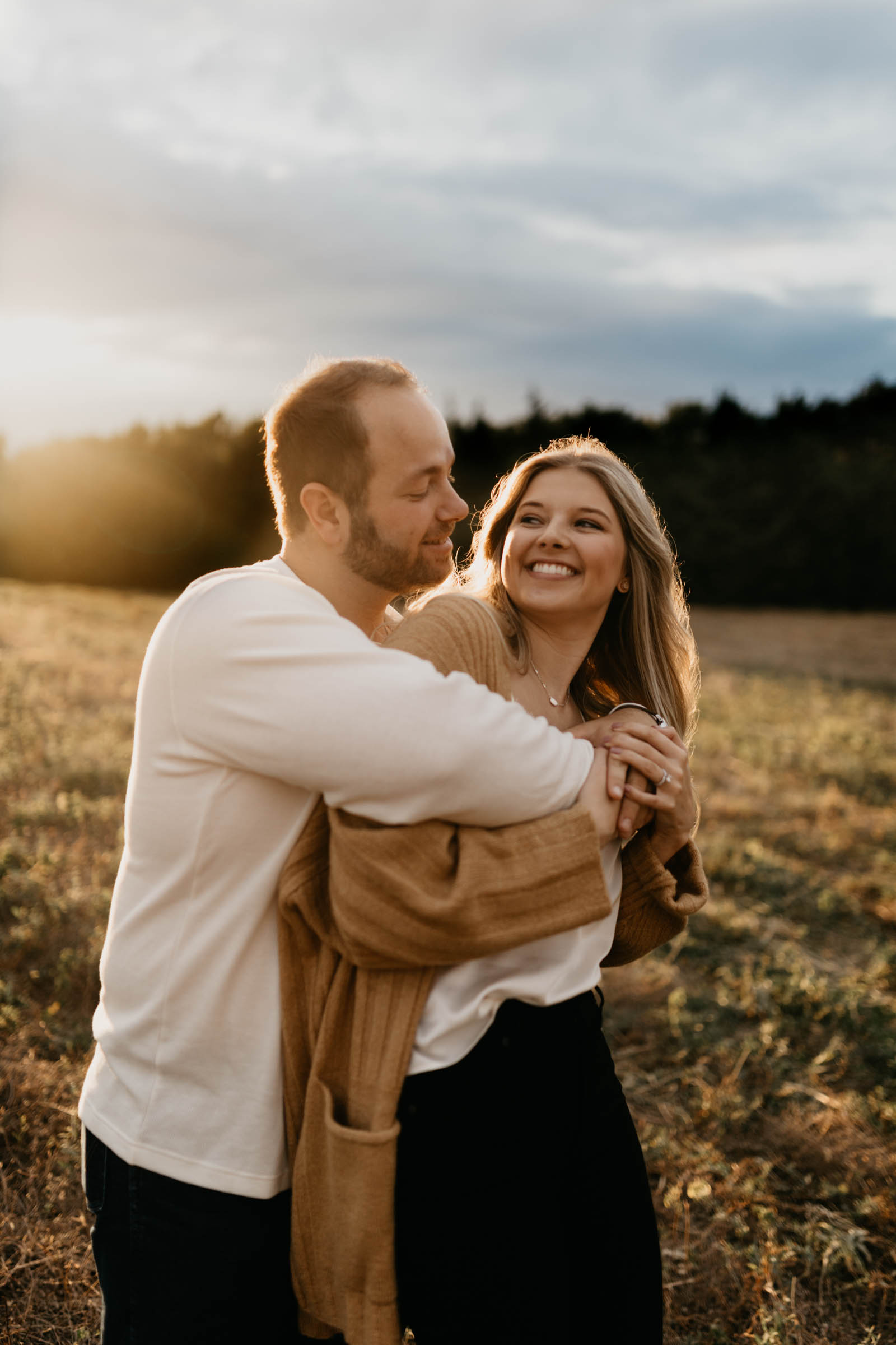 Stormy golden hour engagement session in north Texas at the beginning of fall