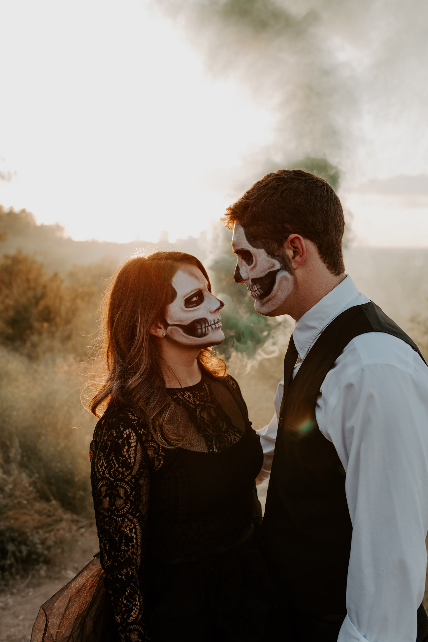 smoke bomb Fort Worth themed couples photography for halloween session
