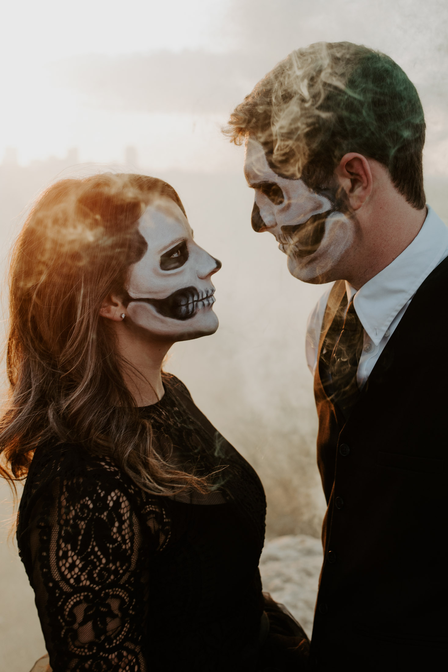 couples session in Fort Worth with smoke bombs and spooky halloween makeup