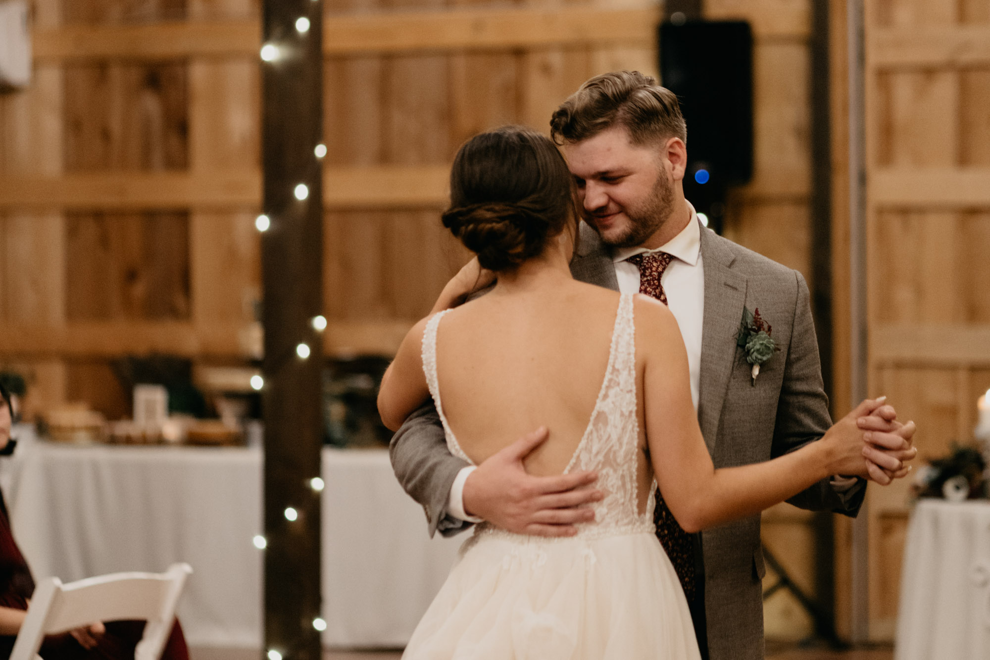 bride and groom sharing their first dance on their wedding day