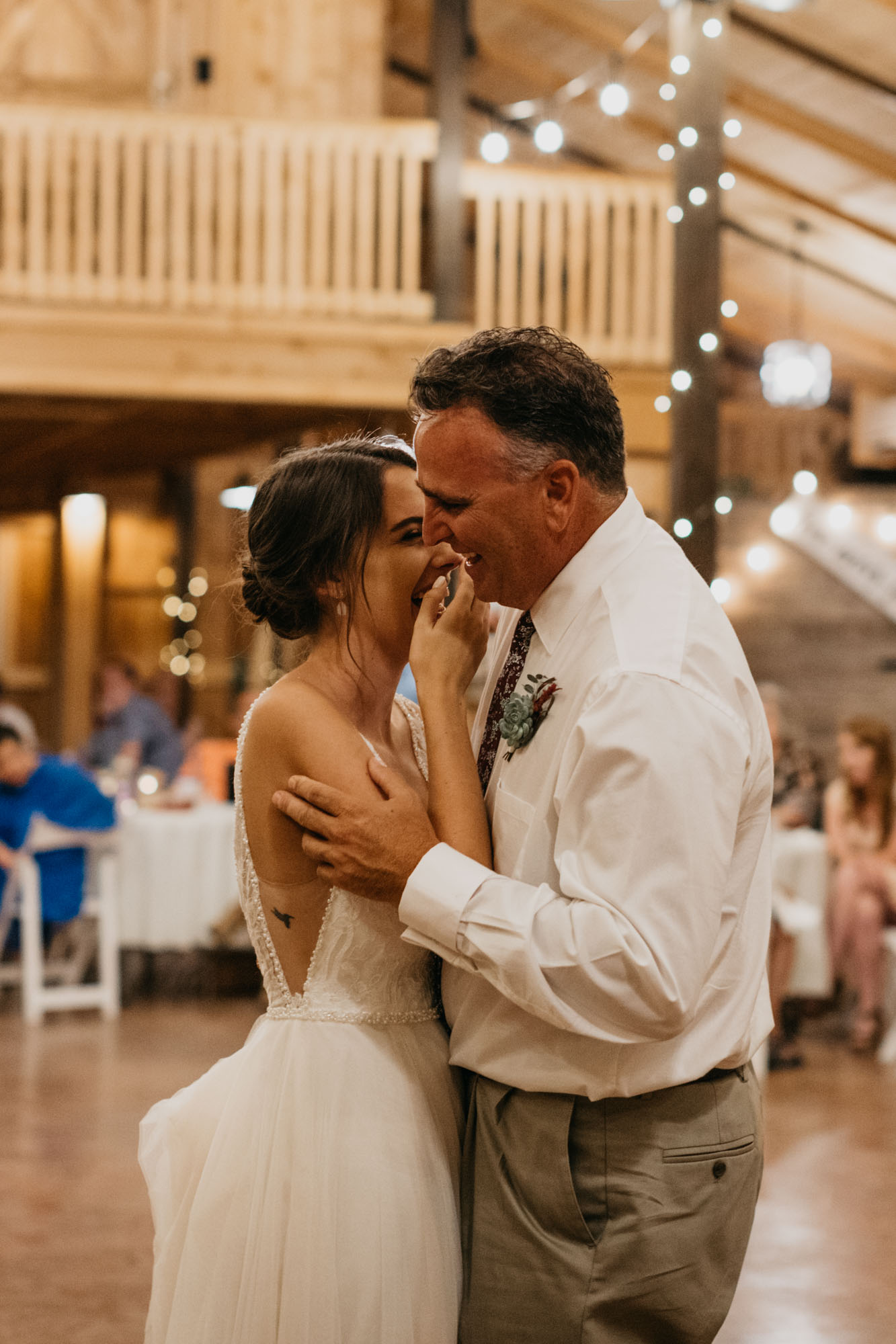 father daughter dance in north texas at rustic barn
