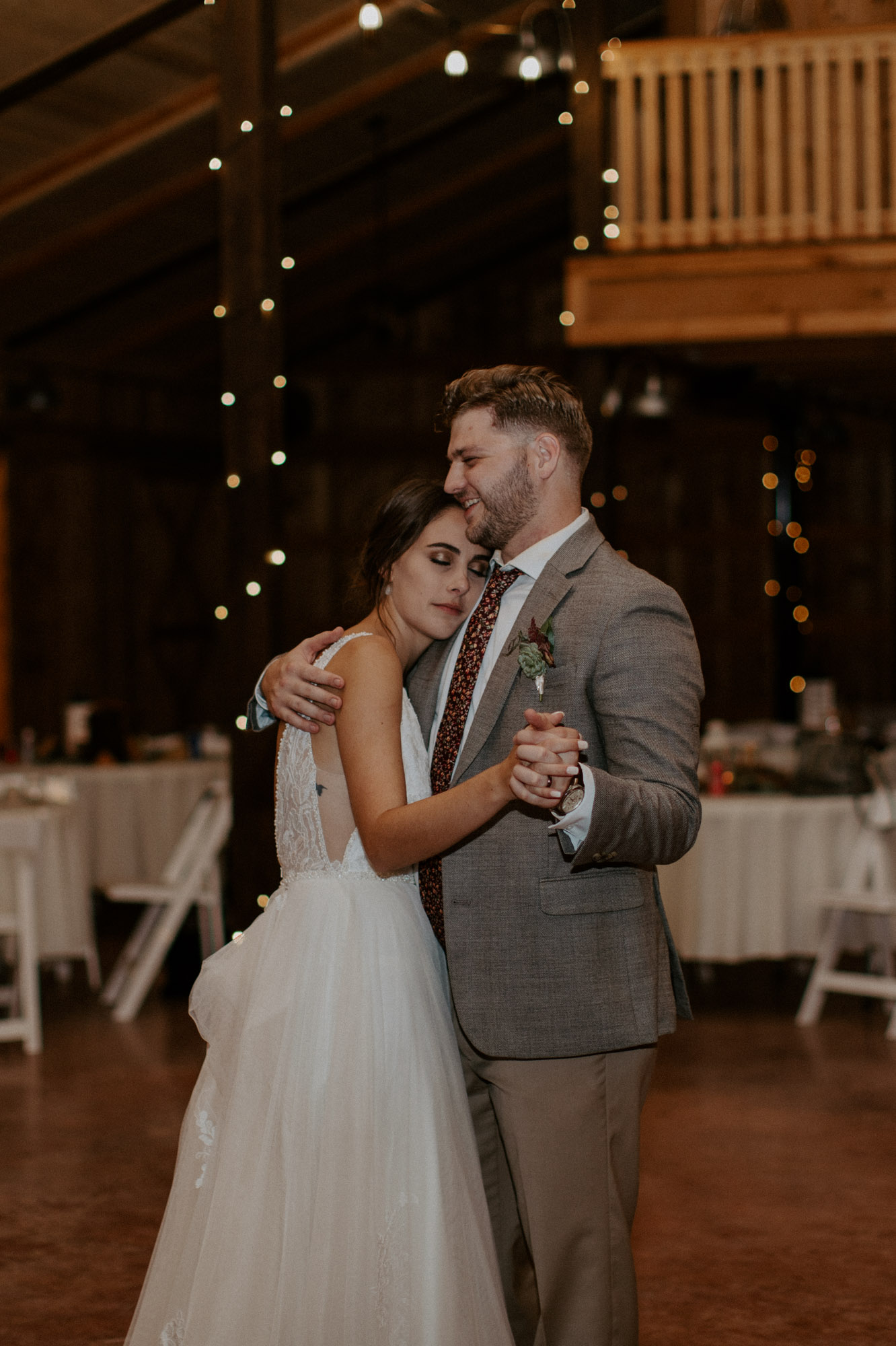 Bride and groom share a last dance on their wedding day