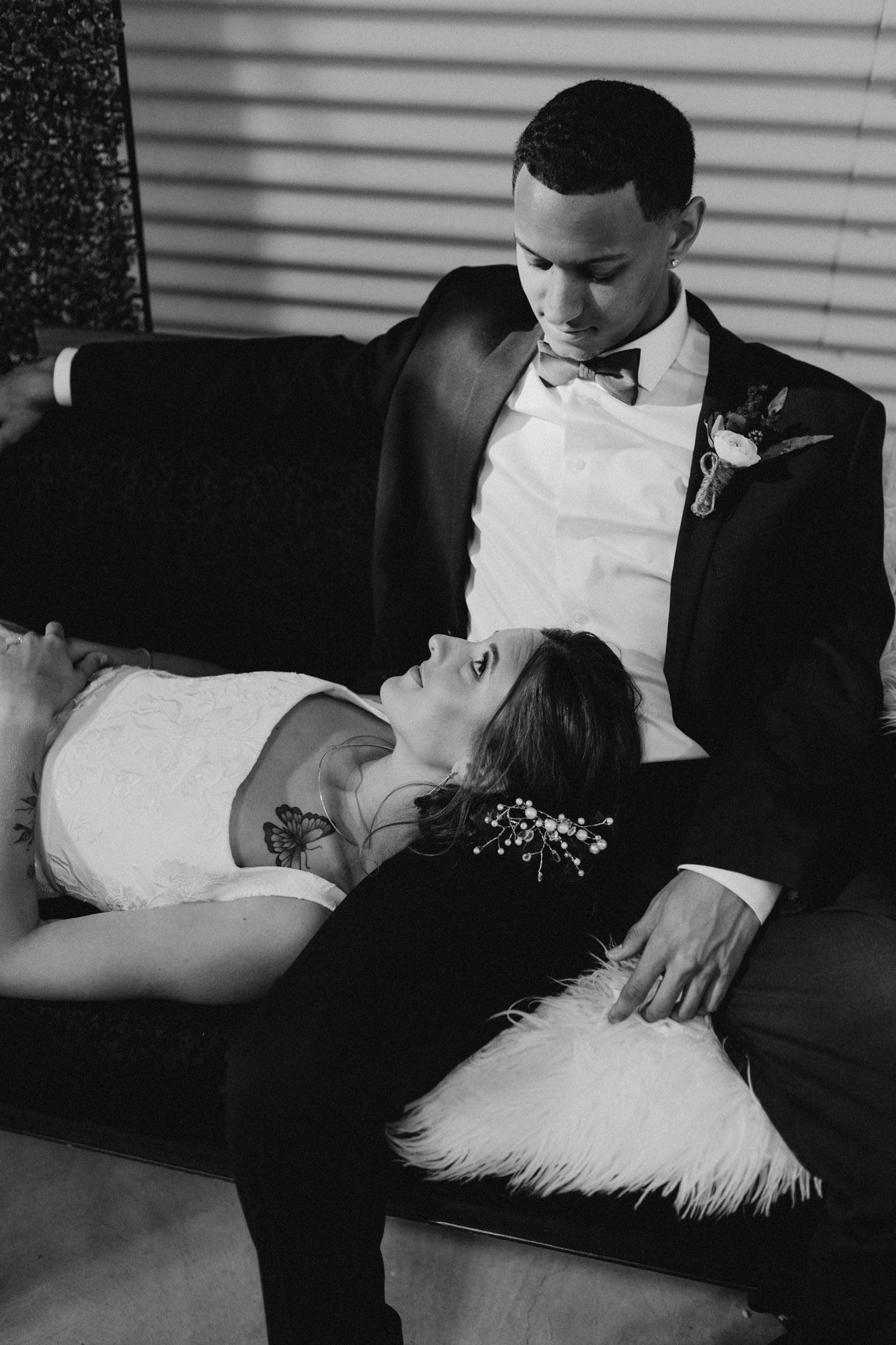 moody black and white of bride and groom at styled shoot