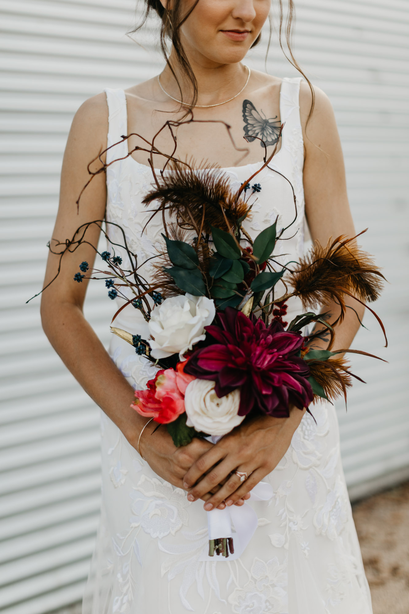 moody floral arrangement for wedding