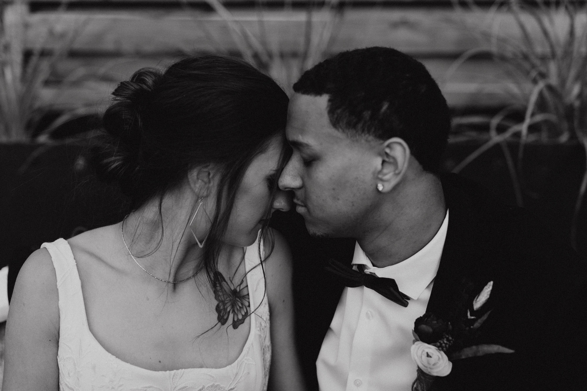 dark and moody vintage looking black and white wedding photo