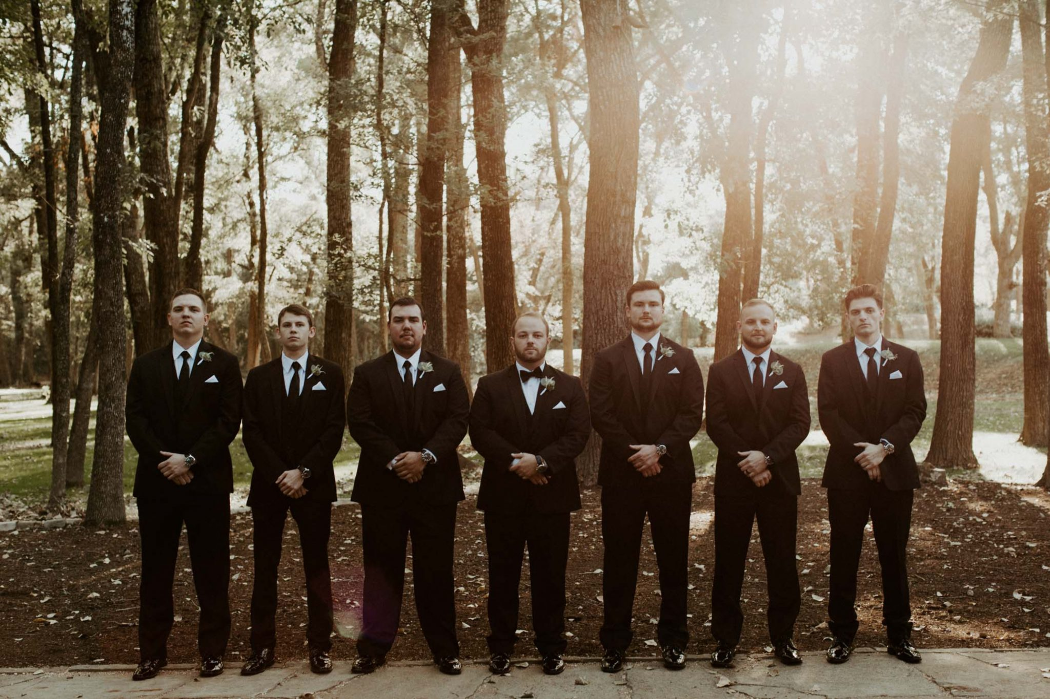 formal groomsmen photo during wedding day in north texas