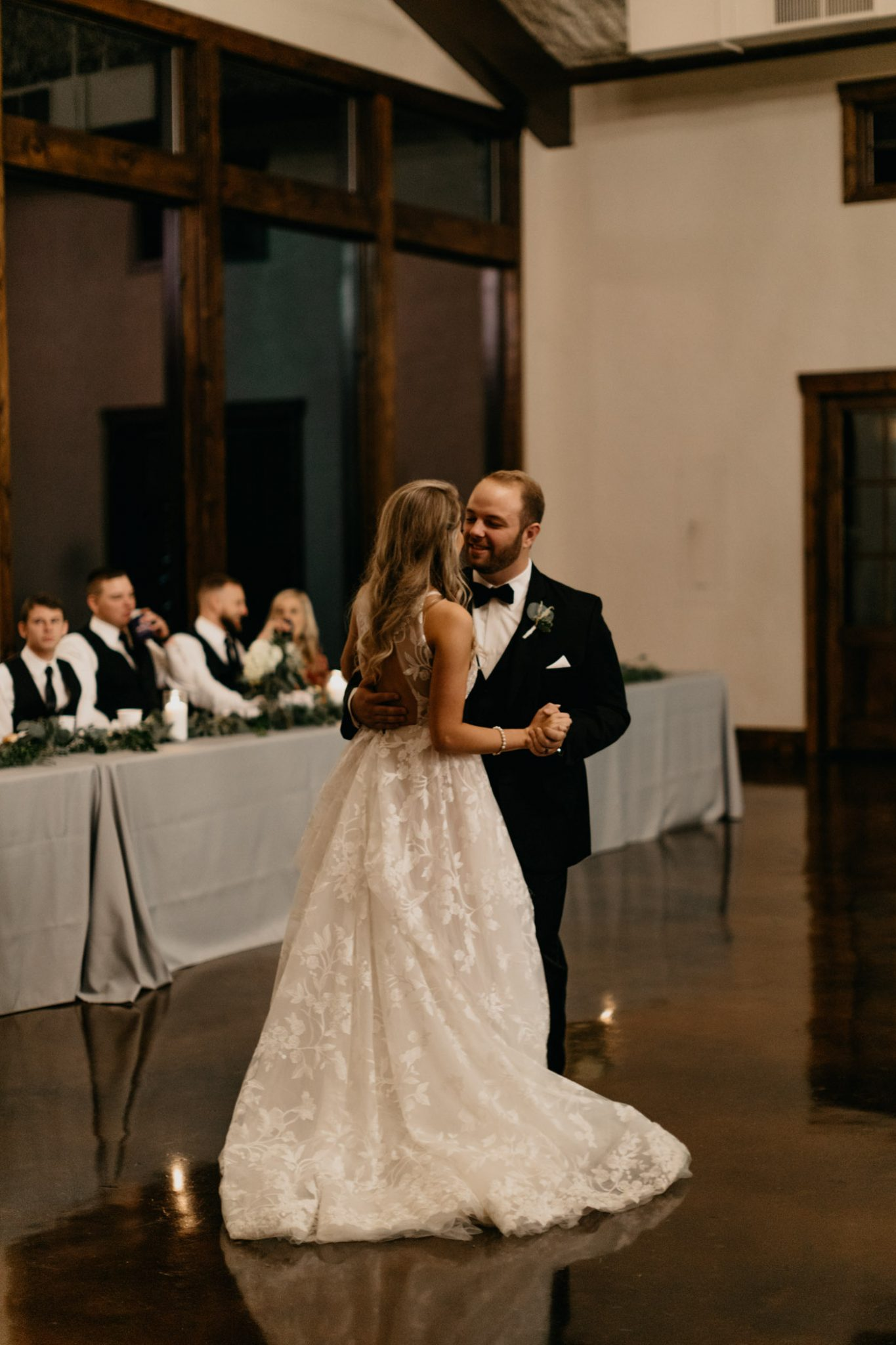 bride and groom sharing elegant first dance in north texas