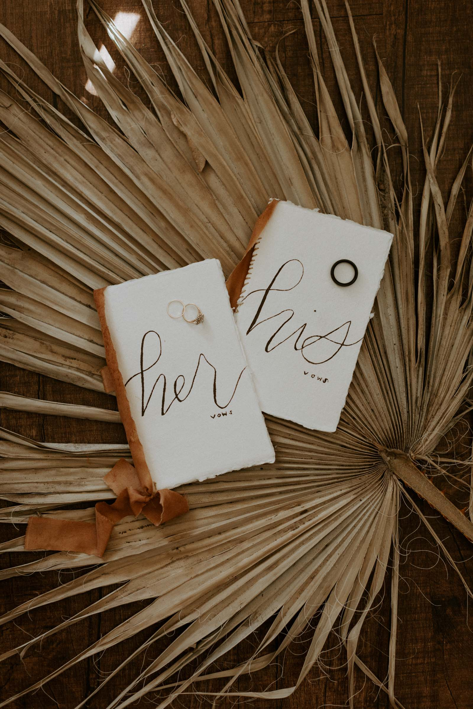 Hand made vow books for boho wedding day