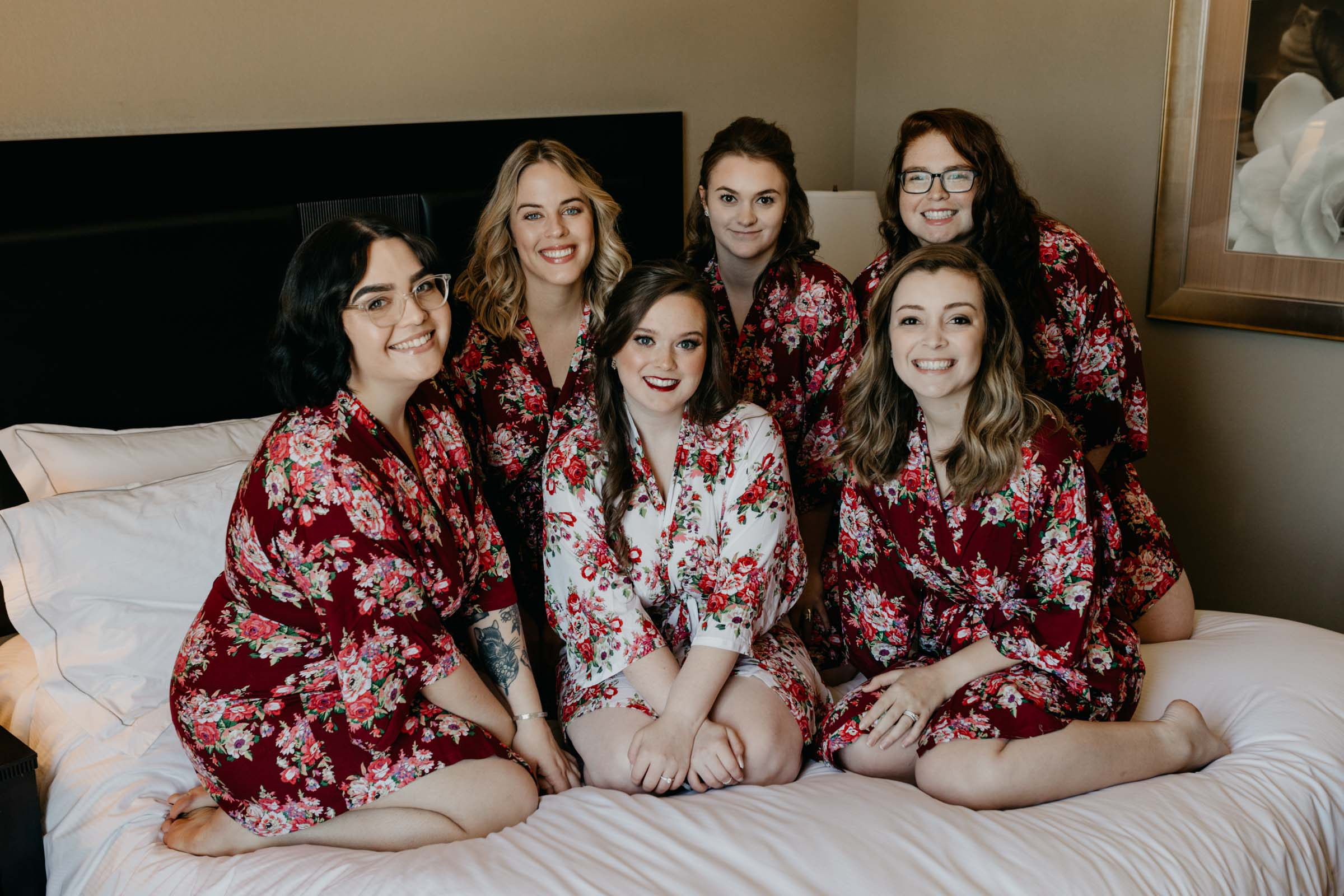 Adorabel bridal party wearing getting ready robes