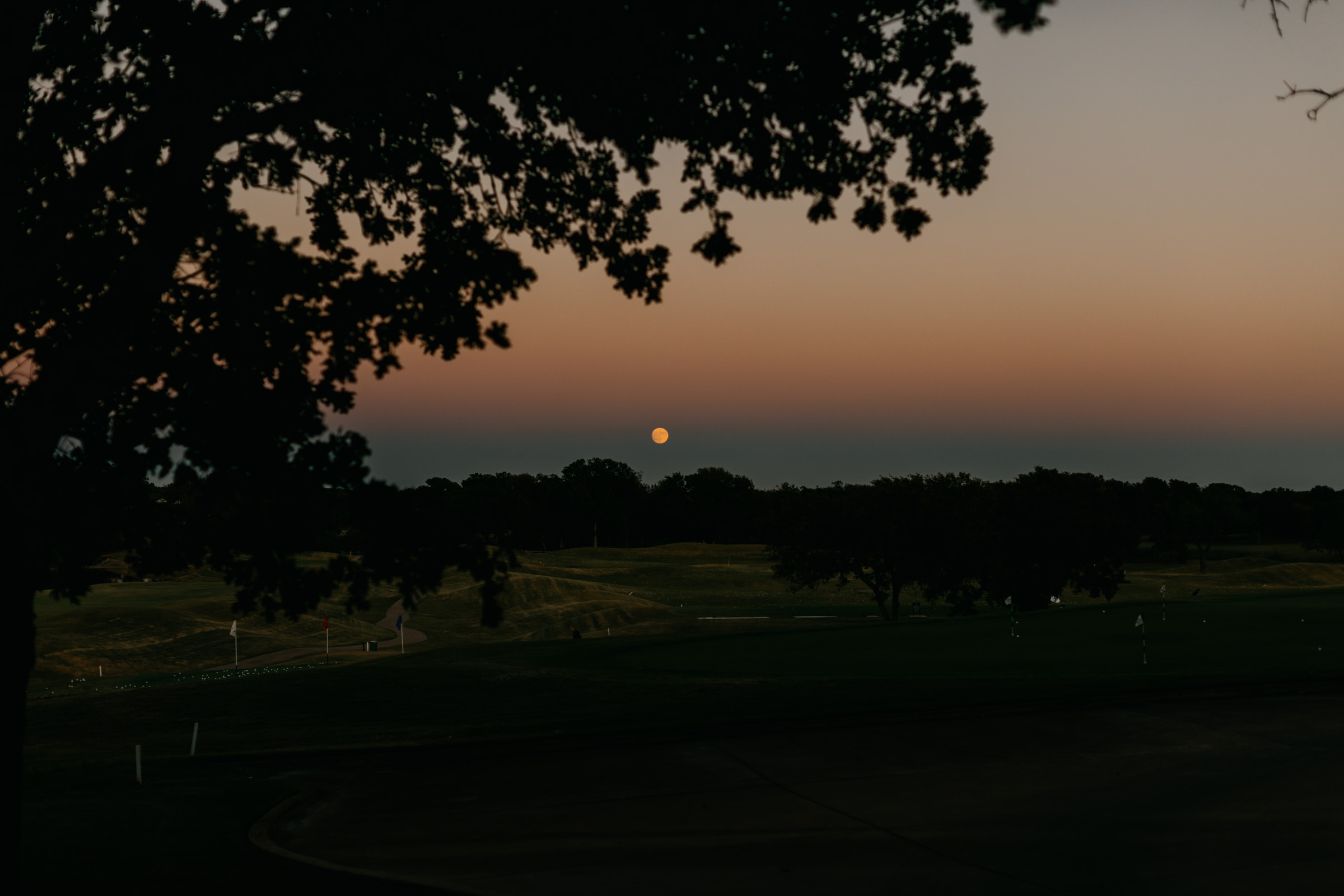 beautiful moon photo over a golf course