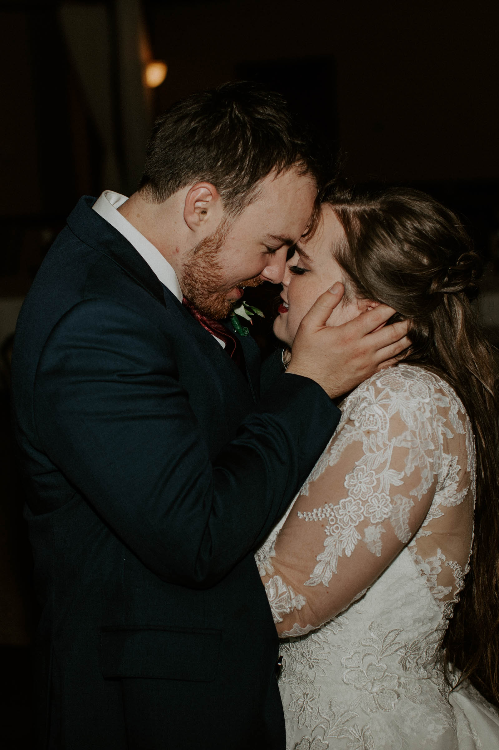 bride and groom sharing their last private dance on their wedding day