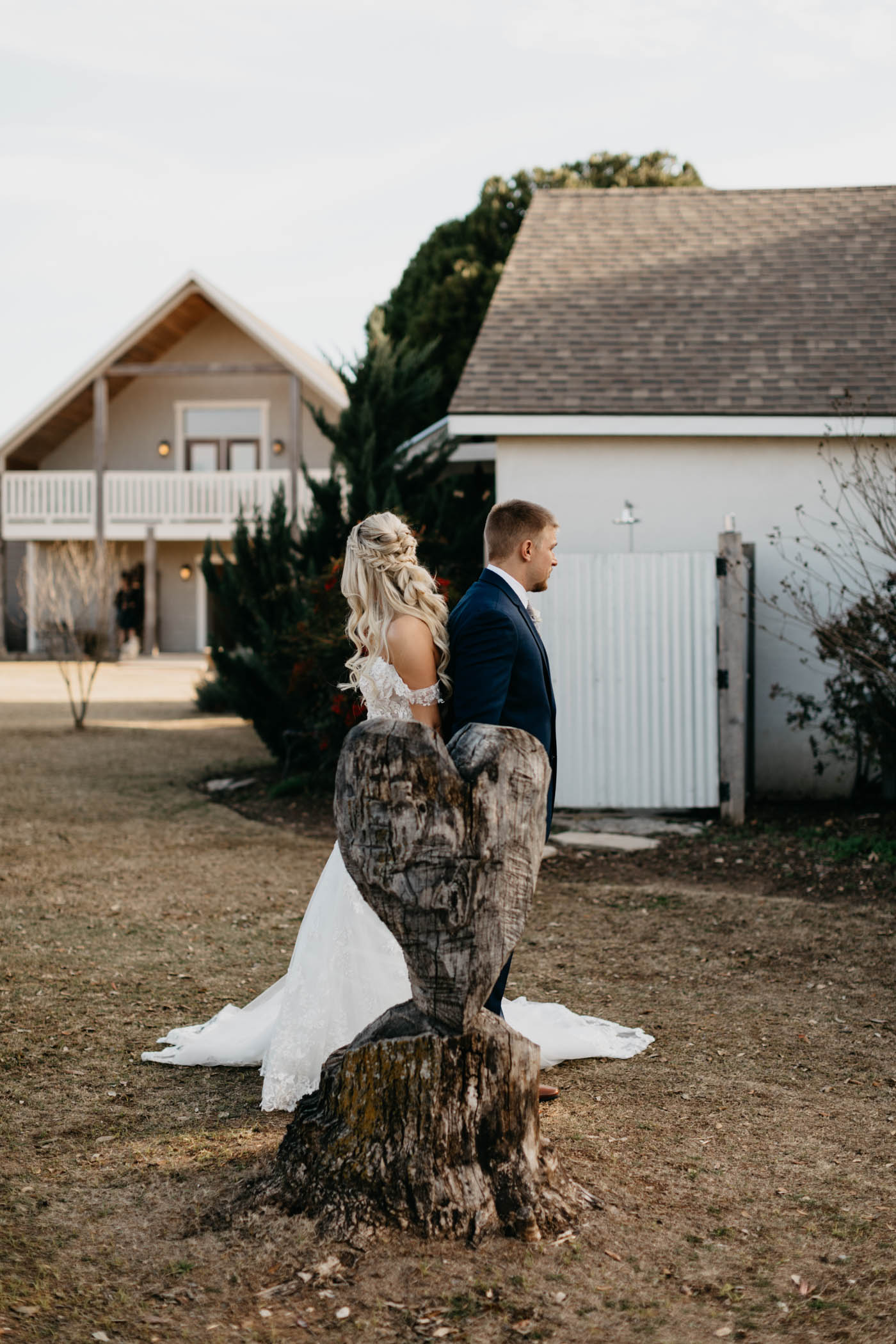 winter wedding first touch