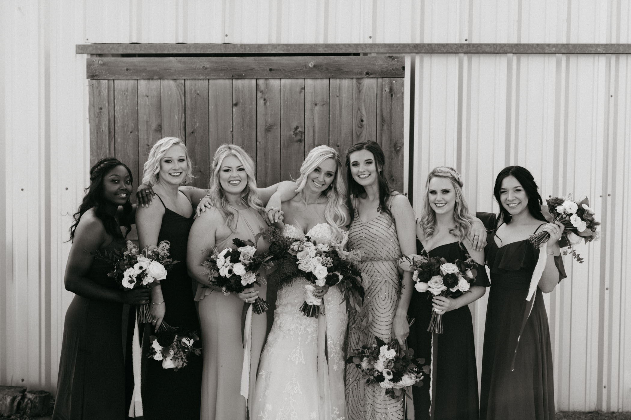 natural photo of adorable bridal party