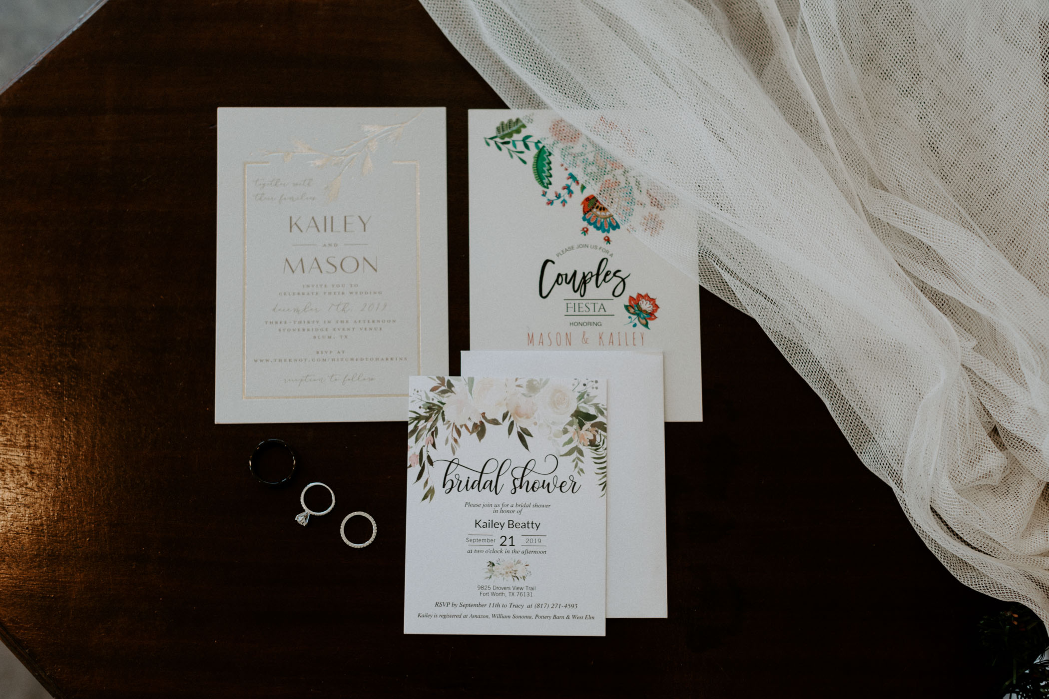Detail photo of wedding day invites and wedding rings