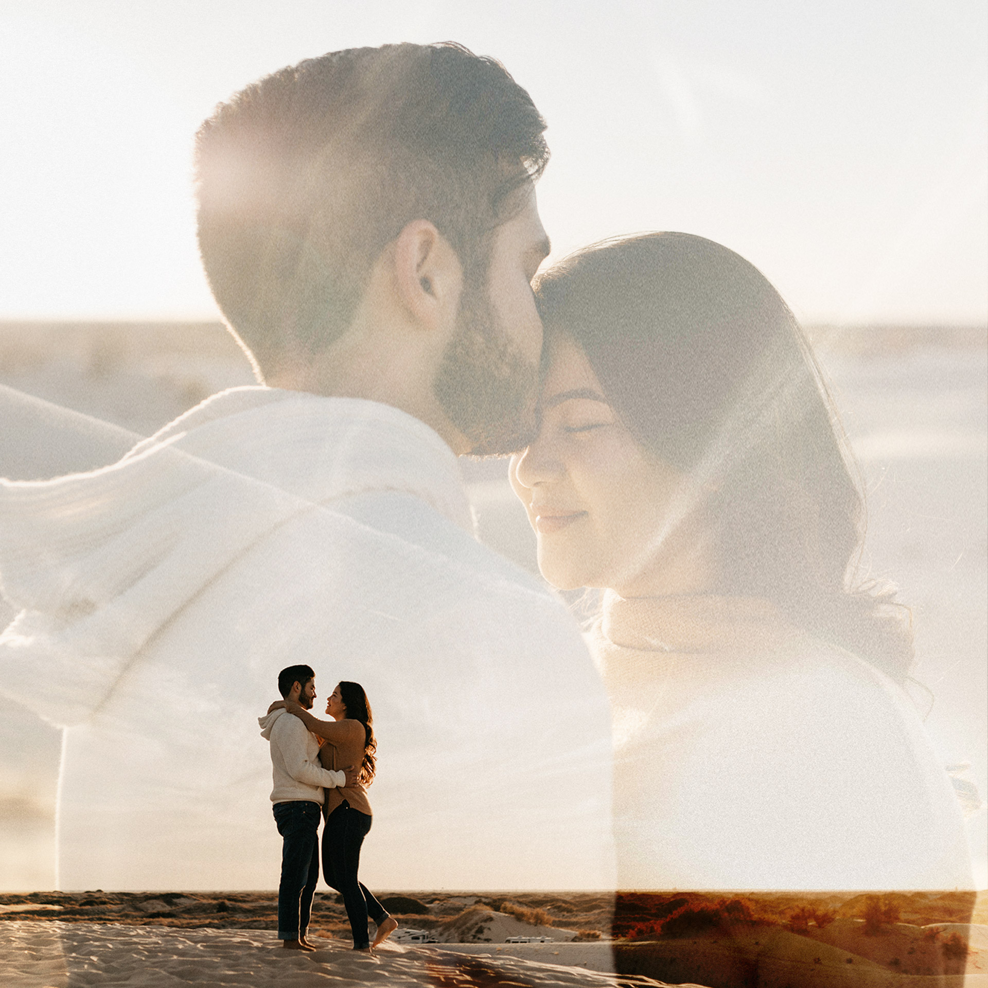 Engagement photos double exposure with landscape picture and couple being romantic