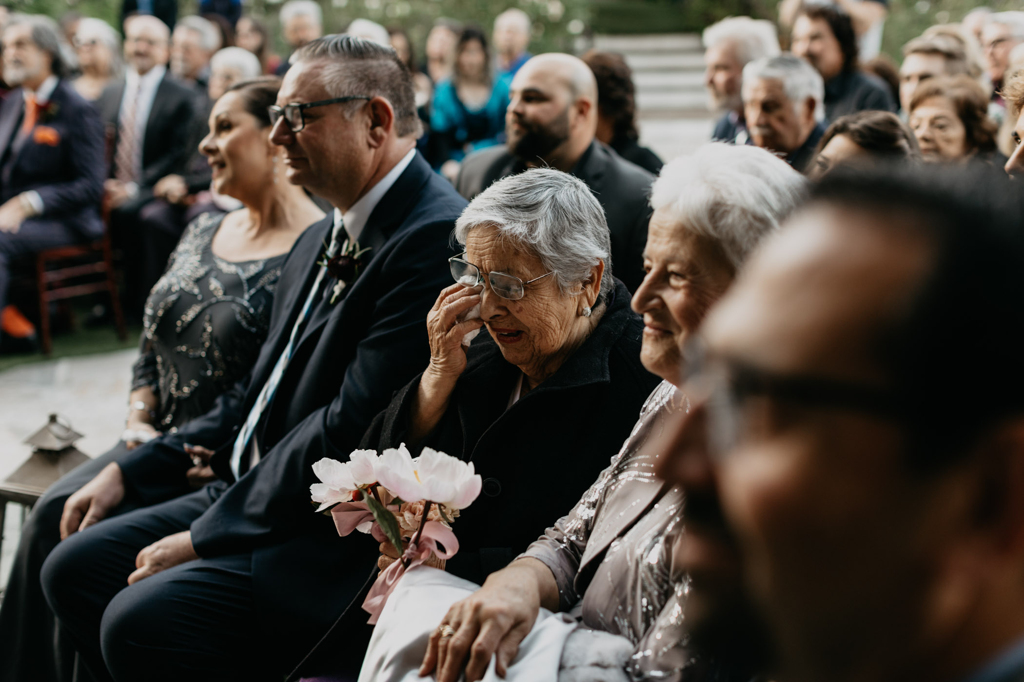 Brides grandma getting emotional during their ceremony