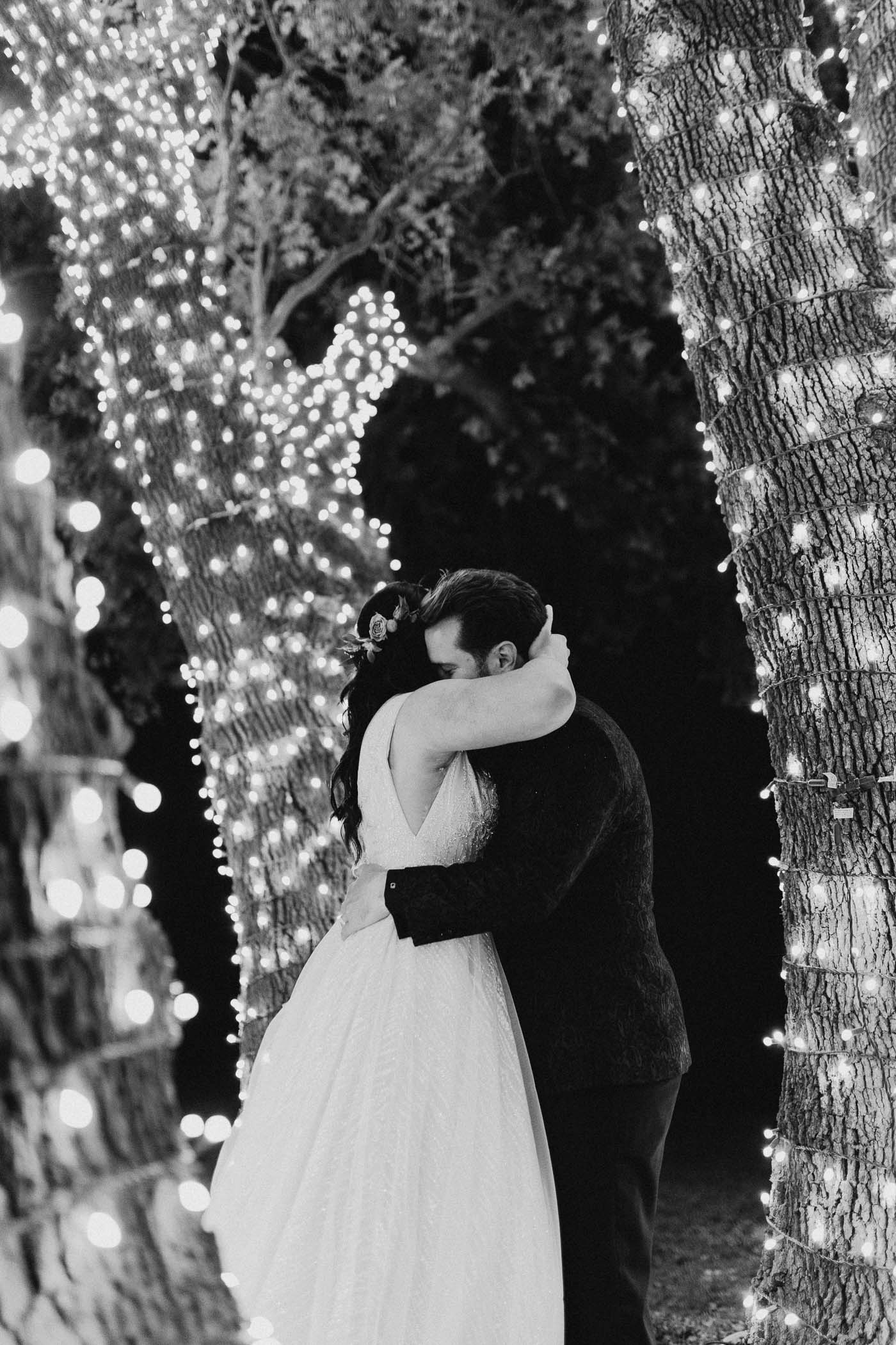 Black and white photo of married couple after their intimate ceremony
