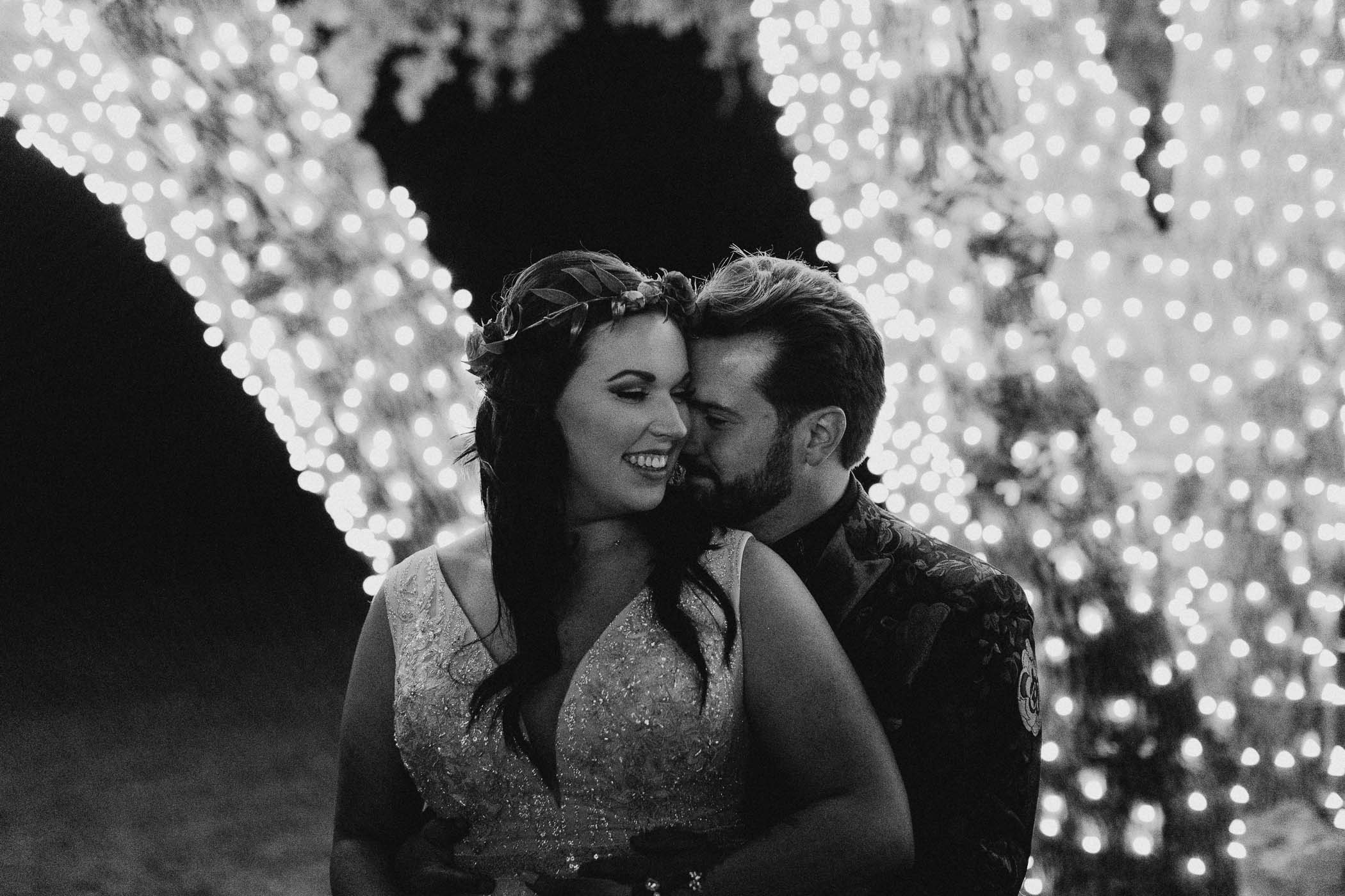 String lights wedding portraits