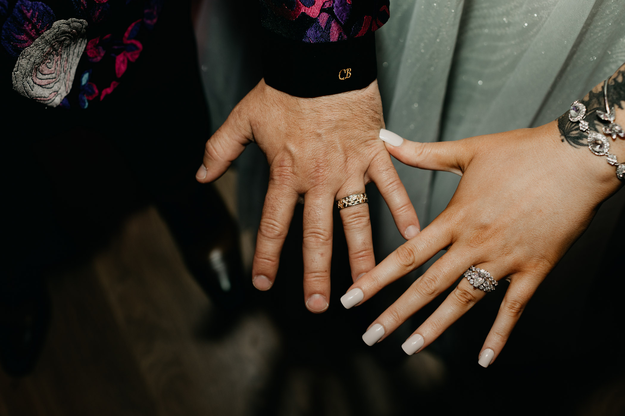 detail photo of couple wearing their wedding rings