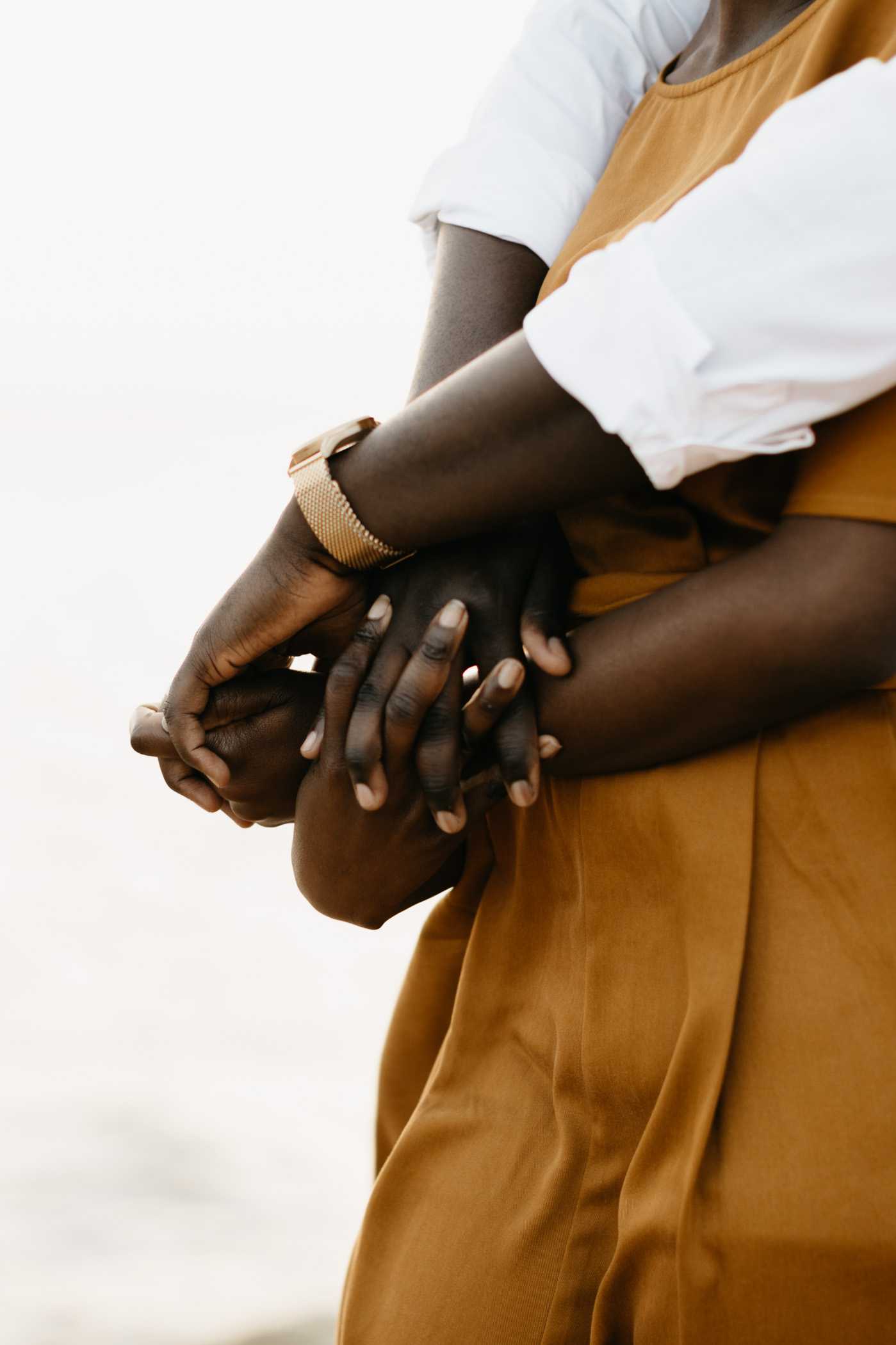 Detail photo of couples hands during anniversary couples session in Fort Worth