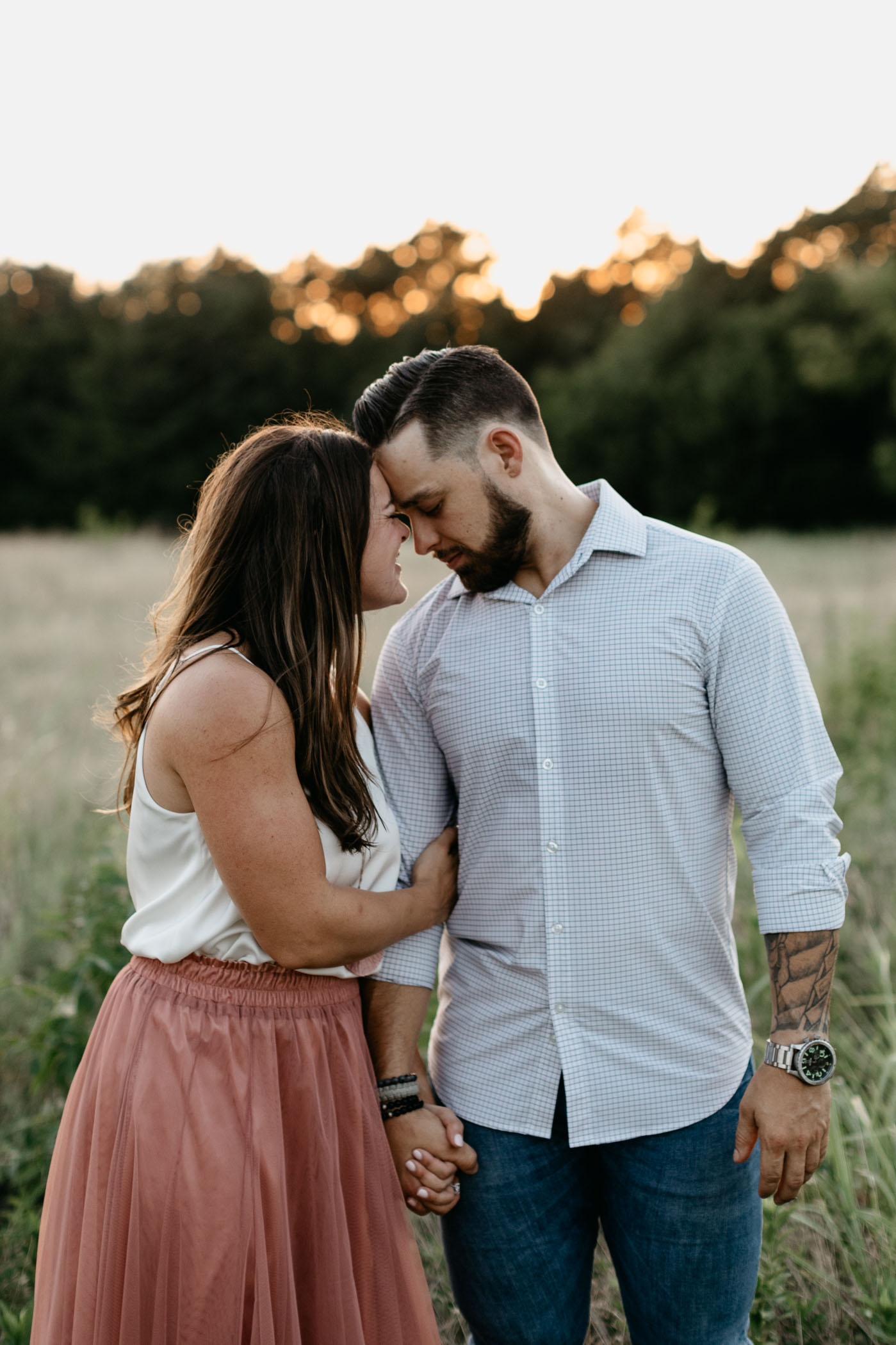 engagement session in Arbor Hills in Plano