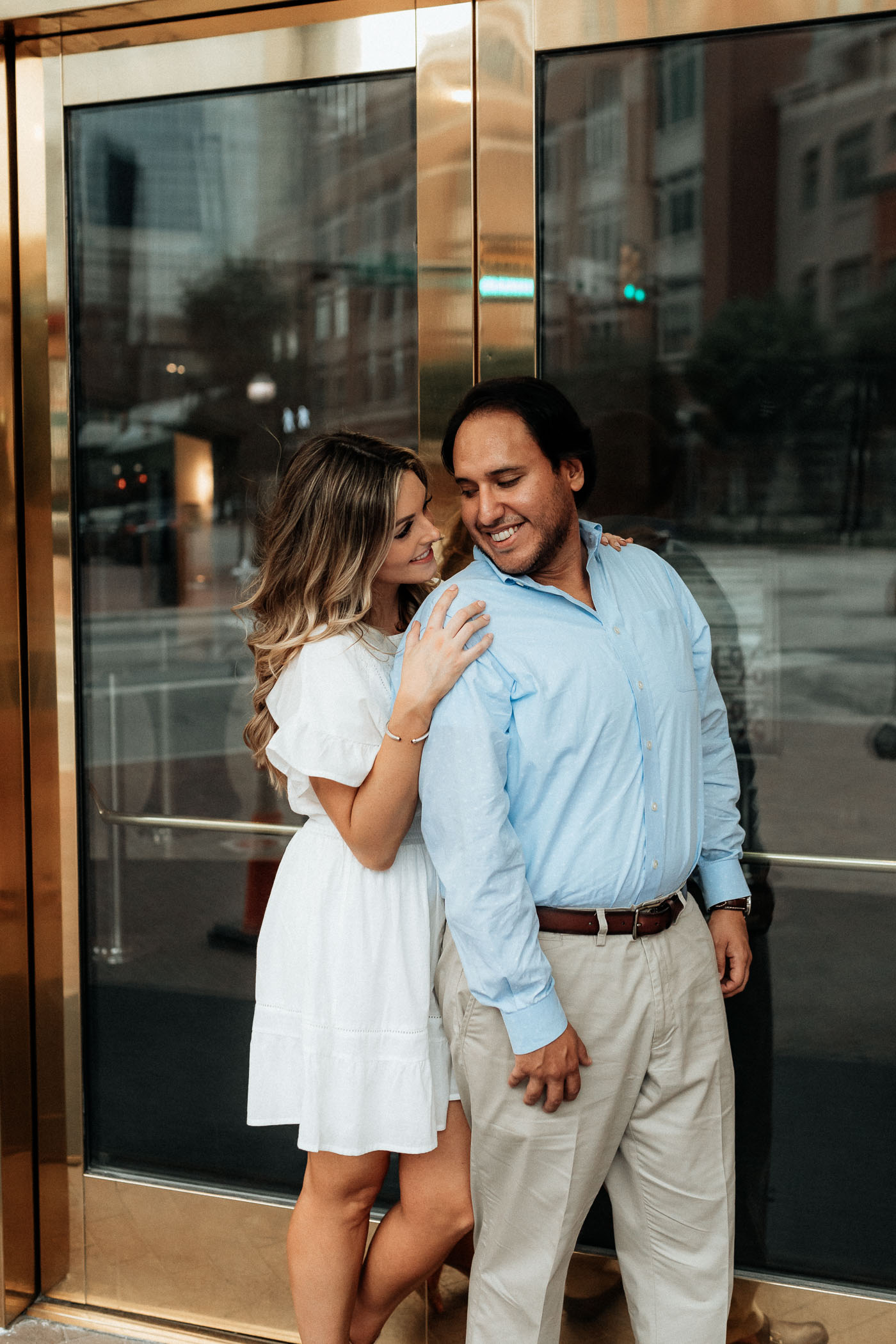 Engagement photos in bass hall in fort worth