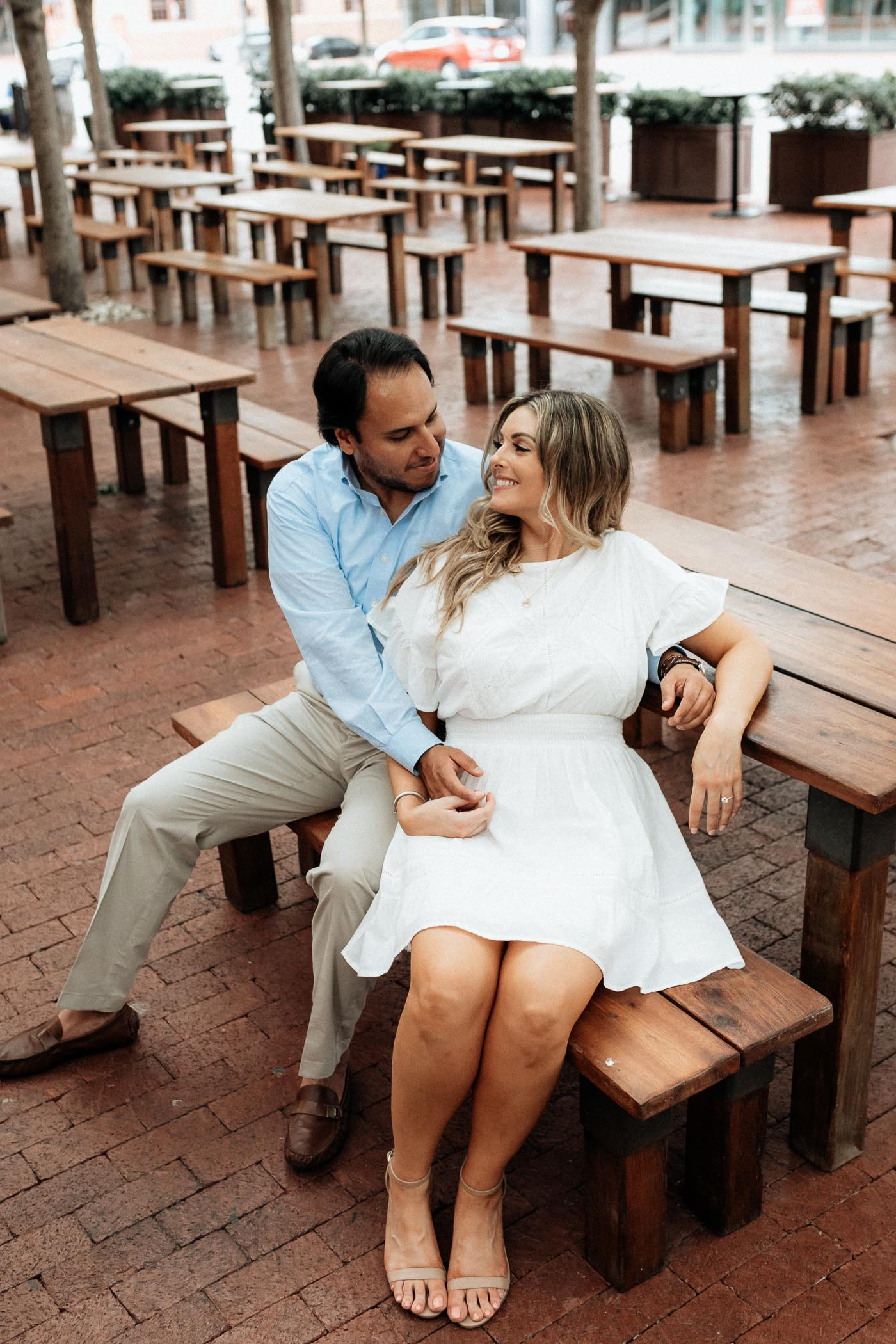 moody engagement session in downtown fort worth