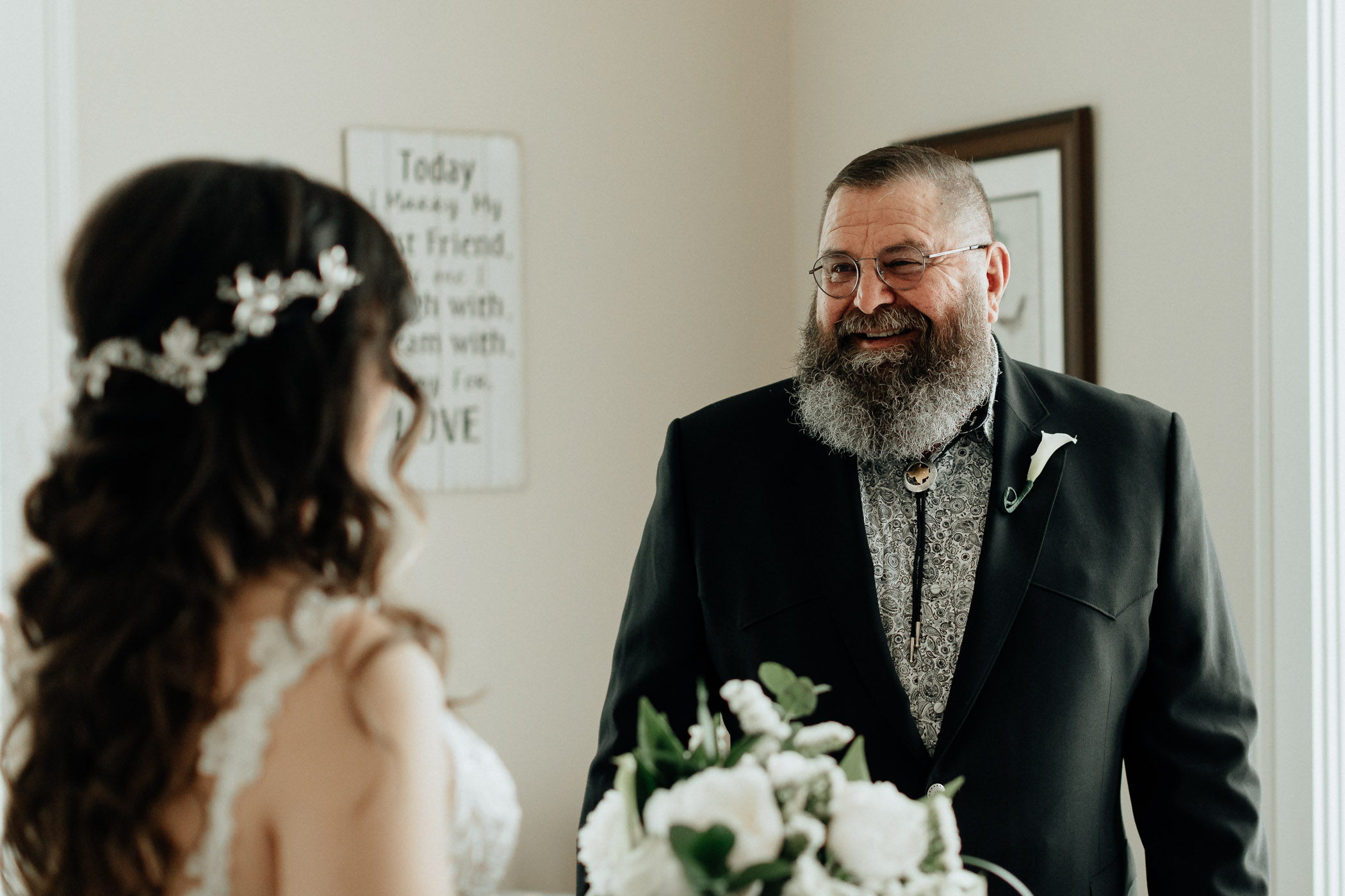 Brides dad getting emotional before walking her down the aisle on her wedding day