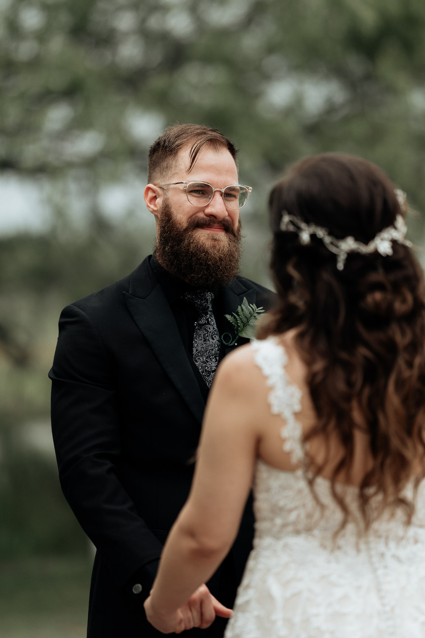 Groom being emotional during Fort Worth wedding ceremony