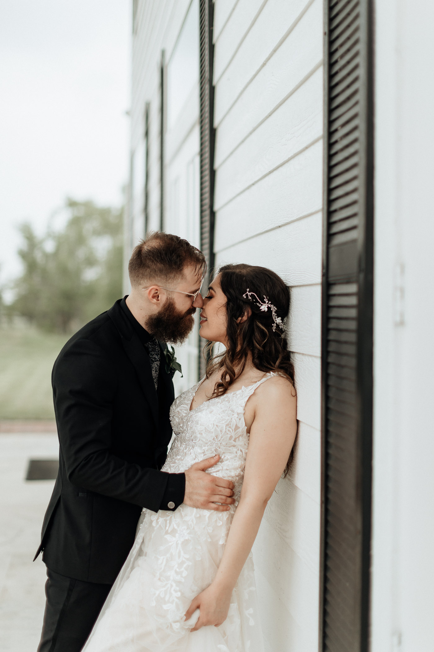 Bride and groom about to kiss in DFW