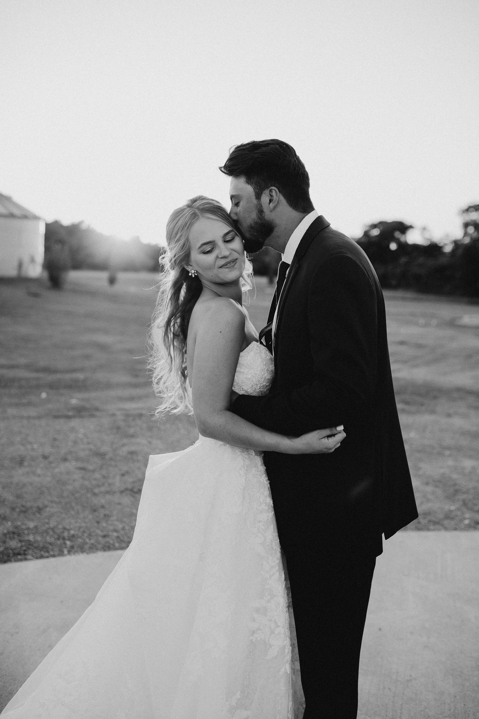 black and white bride and groom portrait in DFW