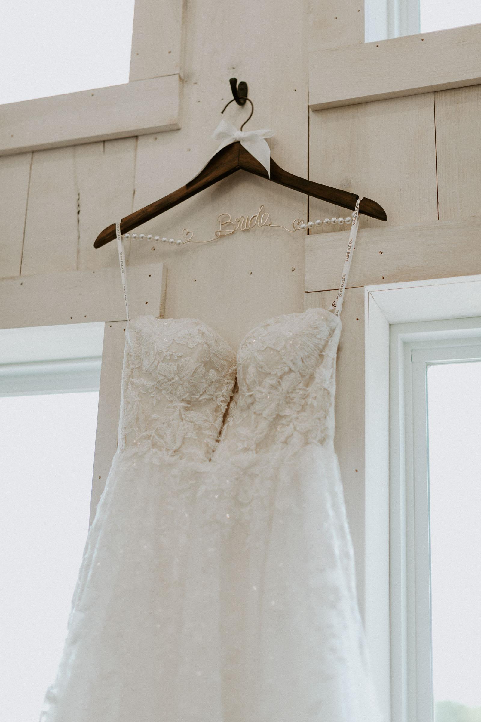 wedding dress detail shot in DFW