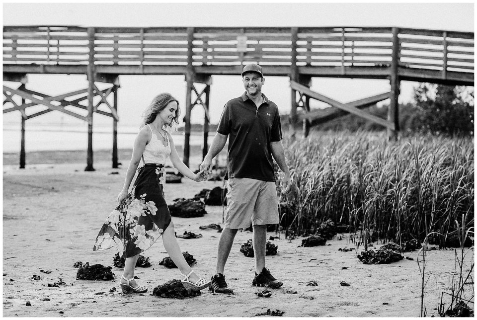 Fishing pier engagement at Fort Island Beach