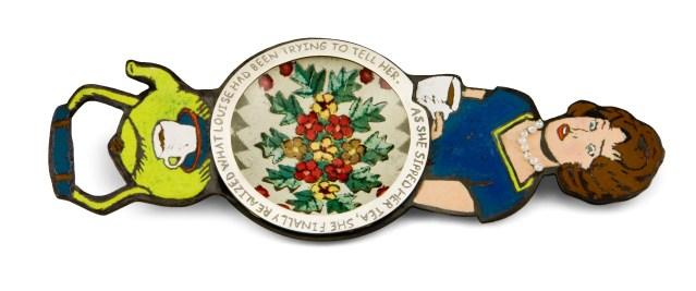 "Revelation. Tea Infuser. 7 x 2 3/4 x 1/2"" Copper, enamel, dollhouse tin, sterling silver, pearls. 2009"
