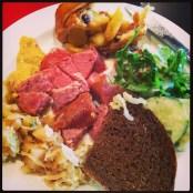 """Sausage, sauerkraut, cucumber salad and apple strudel at the #Oktoberfest themed #Marist #Valley Cafe"" (@ejane27)"