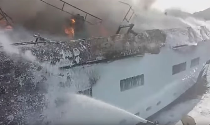 Brand New Luxury Yacht KANGA Devastated By Fire Video