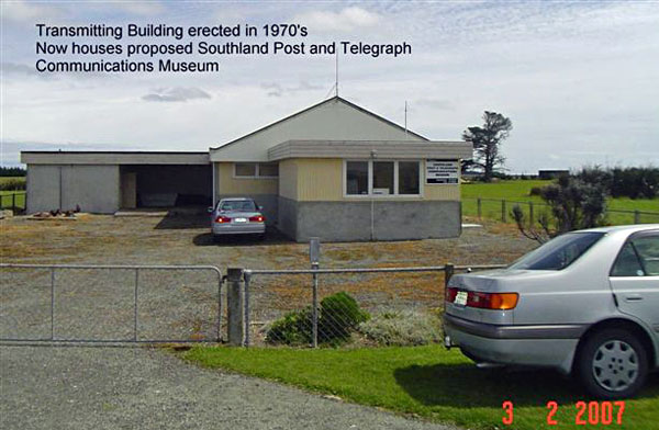 New transmitter building erected in 1970s at Awarua Radio, which now houses the Awarua Communications Museum