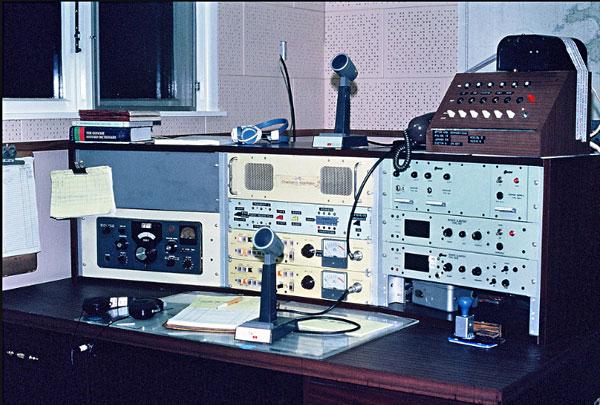 The 2182 kHz radio telephone desk at ZLC Chatham Islands Radio, c1982