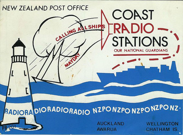 NZ Post Office coast radio information card