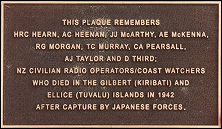 Plaque commemorating the murder of nine New Zealand radio operators by Japanese soldiers during WW2, unveiled 20 September 2013 on Te Ahumairangi (Tinakori Hill)
