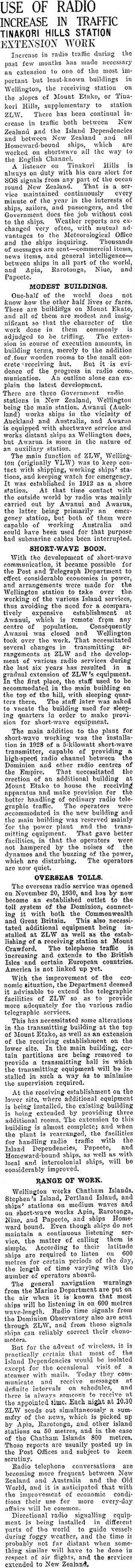 Extension of receiving station at Wellington Radio ZLW