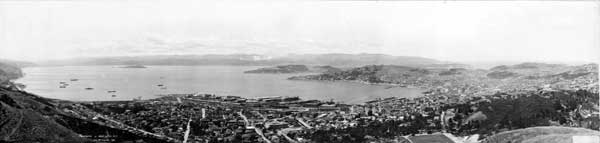 Panorama view of Wellington from the wireless station.