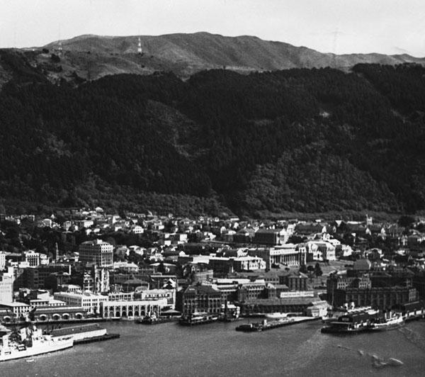 Wellington Harbour from Mount Victoria, c1950