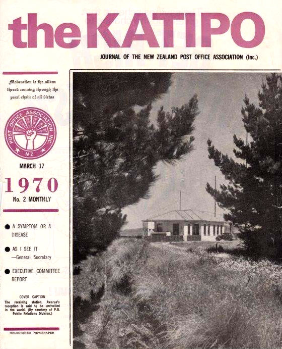 Awarua Radio on the cover of the Katipo, journal of the NZ Post Office Association, in 1970