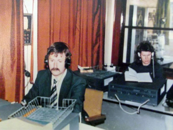 Awarua Radio operators Nevile Chalke and Mike Evertzen in 1982