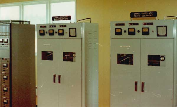JRC single-sideband transmitters 1 and 2, used in the Small Ships Service at Awarua Radio ZLB in the 1980s.