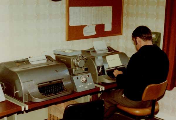 Creed teleprinters (model 54?) at Awarua Radio in the 1980s.