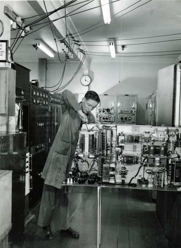 Jack Colman working on a 5KW RCA transmitter at ZLW