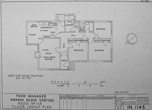Plan of the farm manager's house, built in 1955, at Awarua Radio