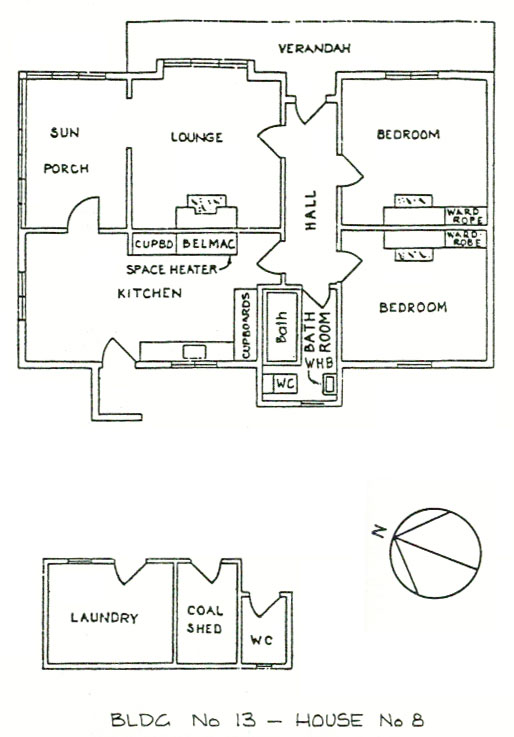 Plan of House 8 at Awarua Radio ZLB. The same plan was used for houses 9 and 10. These were the 3 houses built for the original Telefunken station.
